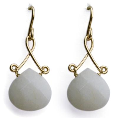 Pagoda Earrings Gold White Jade Hh1560